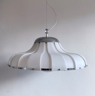 Large Rare White ABS & Glass Pendant Light by Guzzini for Meblo, c.1970