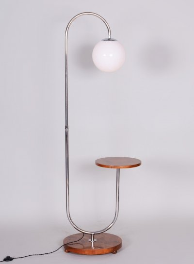 Chrome & Walnut Floor Lamp designed by Thonet & produced by Slezák, 1930s