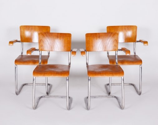 Set of 4 Czech Chrome & Beech Bauhaus Armchairs by Vichr a Spol., 1930s