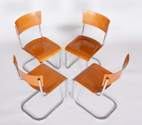 Set of 4 Czech Beech & Chrome Bauhaus Chairs by Robert Slezak, 1920s
