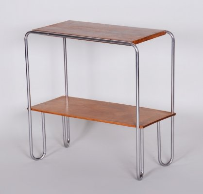 20th Century Small Czech Chrome & Oakwood Bauhaus Table by Mücke & Melder
