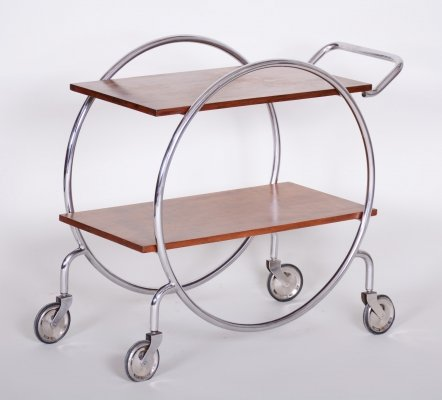 20th Century Czech Chrome & Oak Wood Bauhaus Trolley by Sab, 1920s