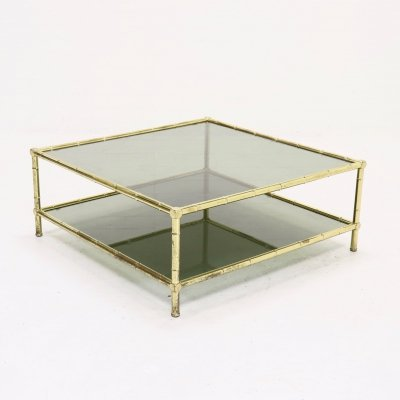 Mid Century Italian Brass Faux Bamboo & Glass Coffee Table, 1970s