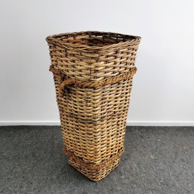 Large Wicker Harvest Basket, 1950s