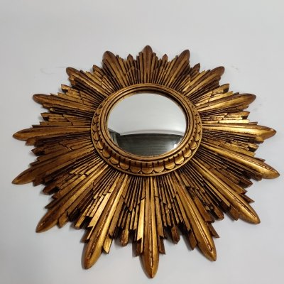 Vintage gilded resin sunburst mirror, 1960s