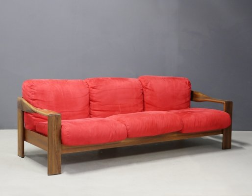 Modern Sofa in walnut & fabric by Afra & Tobia Scarpa, 1980s