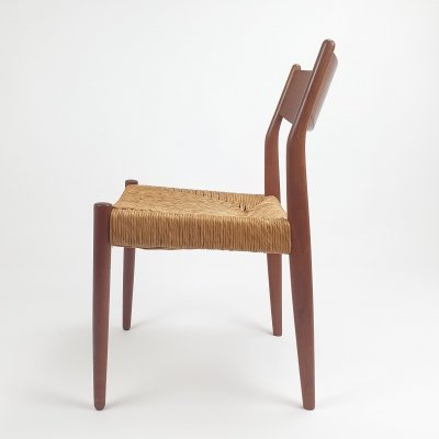 Mid Century Fristho Chair with straw & teak, 1960s