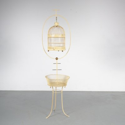 Unique Metal Bird Cage on Stand, Italy 1950