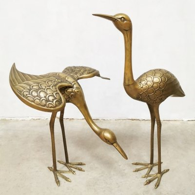 Set of 2 vintage crane bird brass sculptures, 1960s