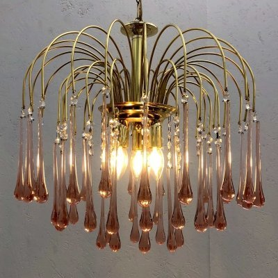 Vintage Murano glass waterfall chandelier by Eurolux, 1970s