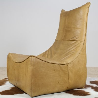 Brutalist leather Rock Lounge chair in leather by Gerard van den Berg, 1970s