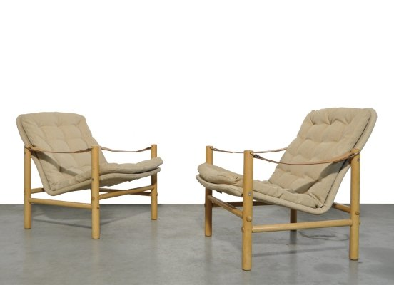 Solid beechwood DUX safari 'Junker' chairs by Bror Boije, Sweden 1960s