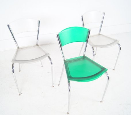 Set of 3 Mimi dining chairs by Enrico Baleri for Baleri Italia, 1990s