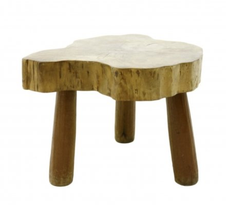 Solid Wood Side Table or Stool, 1960s