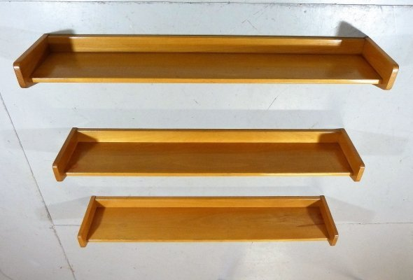 Set of 3 solid beech wood book-wall shelves, 1950's