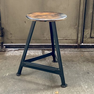 Workshop stool with a three-legged steel base, 1960s