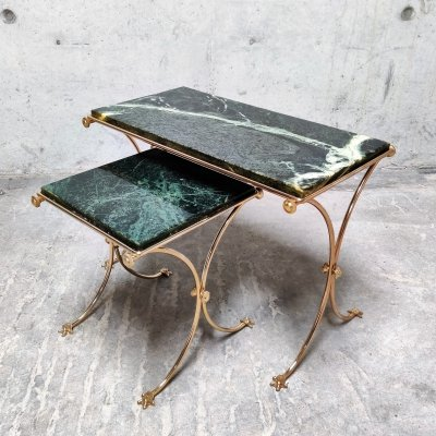 Brass & green marble nesting tables, 1960s