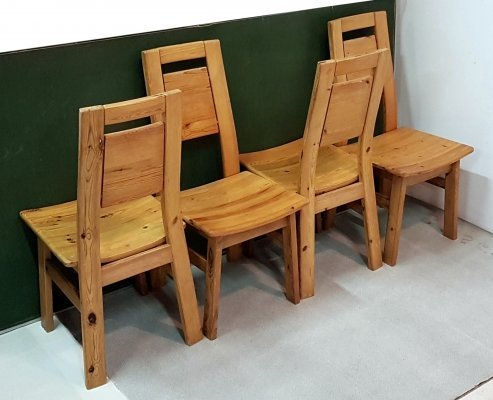 Solid pine dining chairs by Ilmari Tapiovaara for Laukaan Puu, Finland 1960s