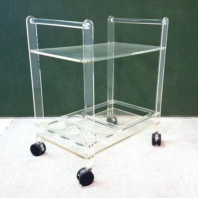 1970s lucite serving trolley on wheels