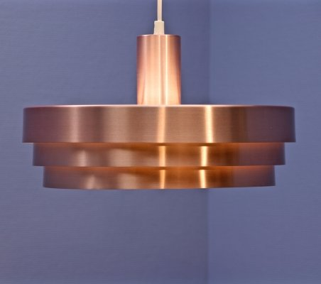 Danish hanging lamp in pink copper, 1970s