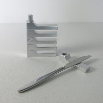 Set of 6 aluminum knive-rests by Pierre Vandel, 1970s