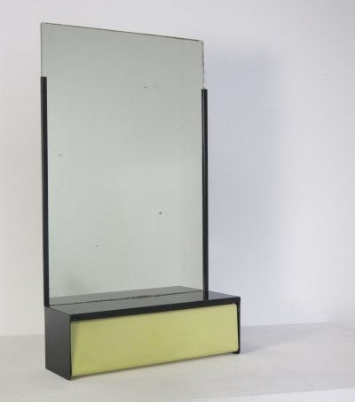 Metal Brabantia mirror with comb-rest, 1960s