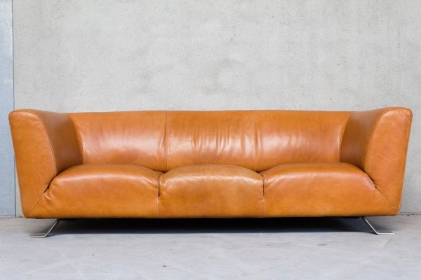 Leather Sofa in Cognac by Natuzzi, 1970s