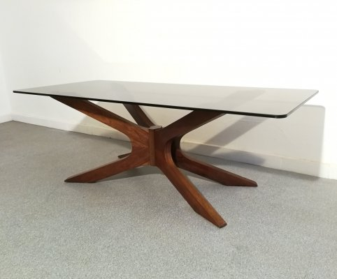 Wood & smoked glass coffee table