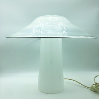 Rare White Murano Glass Table Lamp by ITRE, 1970's