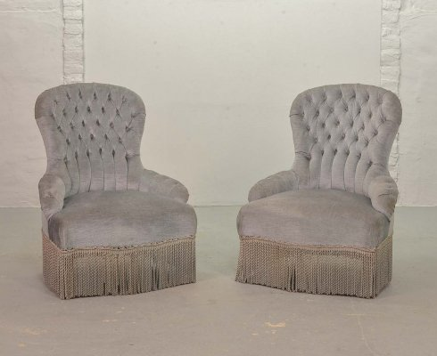 French Napoleon Style Blue Velvet Boudoir / Slipper Chairs, France 1950s