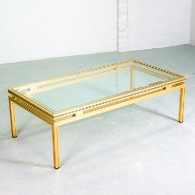 Pierre Vandel Brass & Aluminium Coffee Table with Glass Top, France 1970s
