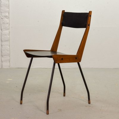 Single Gianfranco Frattini Black Leatherette Dining Chair for R&B Italia, 1950s