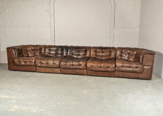 Patched Chestnut Brown Leather 5 Elements Modular DS11 Sofa by De Sede, 1970s