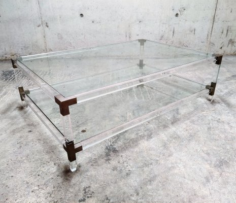 Lucite & chrome coffee table by Charles Hollis Jones, 1970s