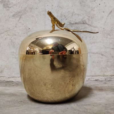 Vintage brass apple ice bucket by Freddotherm, 1970s