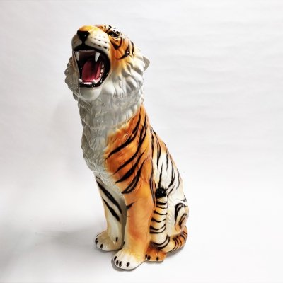 XXL Ceramic Hand Painted Tiger, Italy 1970s