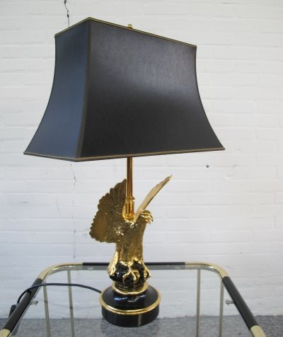 Gold plated Eagle Desk lamp by Jacques Charles for Maison Charles, 1970s