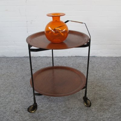 Teak & metal serving cart trolley by Åry Fanérprodukter Nybro, 1960s