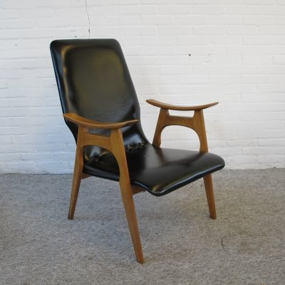 Vintage birch wood & leatherette lounge chair, 1960s