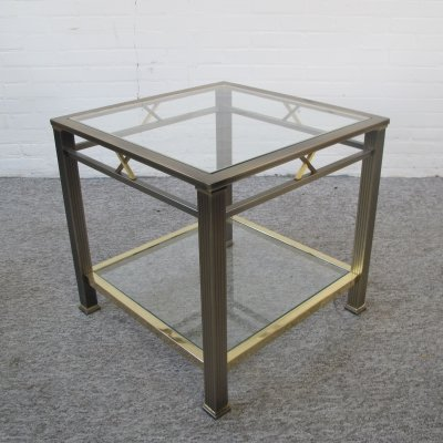 Vintage brass & glass side table, 1970s
