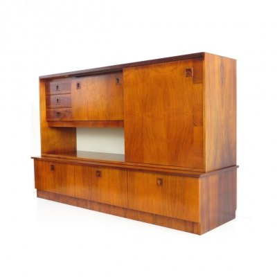 Vintage rosewood highboard wall unit with unique wood grain, 1960s