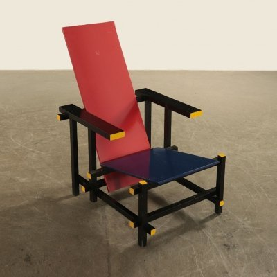Vintage Red & Blue Chair by Gerrit T. Rietveld