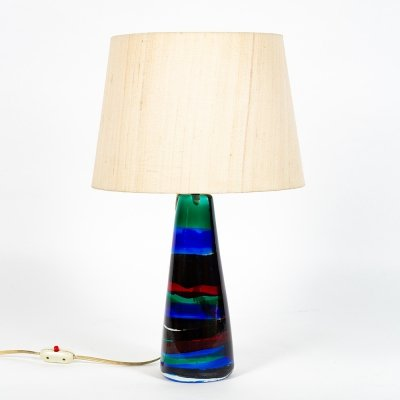 Rare glass lamp by Fulvio Bianconi for Venini, 1950s