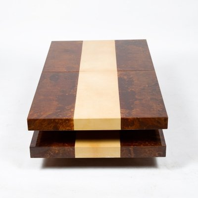 Two-color parchment bar table by Aldo Tura, circa 1970