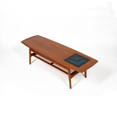 Large coffee table in teak with mosaic inlay by Arne Hovmand Olsen for Mogens Kold, 1950s