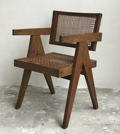 Pierre Jeanneret Office cane chair in solid cashew, 1950s