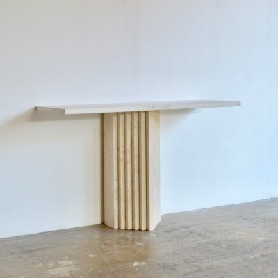 Travertine Console with Stacked Detail Base