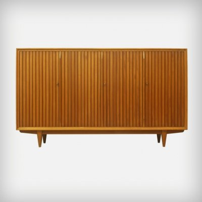 German Walnut Highboard With Slatted Doors, 1950s