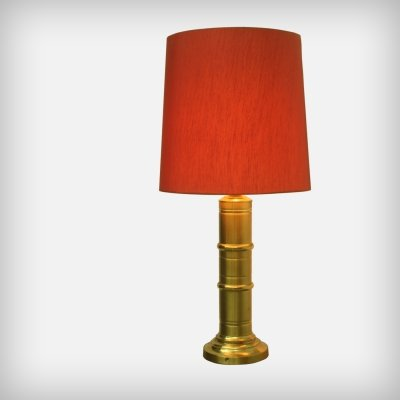 Huge Red Fabric & Brass Table Or Floor Lamp, 1960s