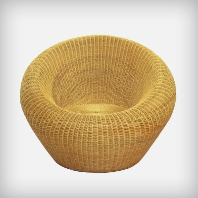 Japanese Rattan Lounge Chair by Isamu Kenmochi for Yamakawa, 1970s
